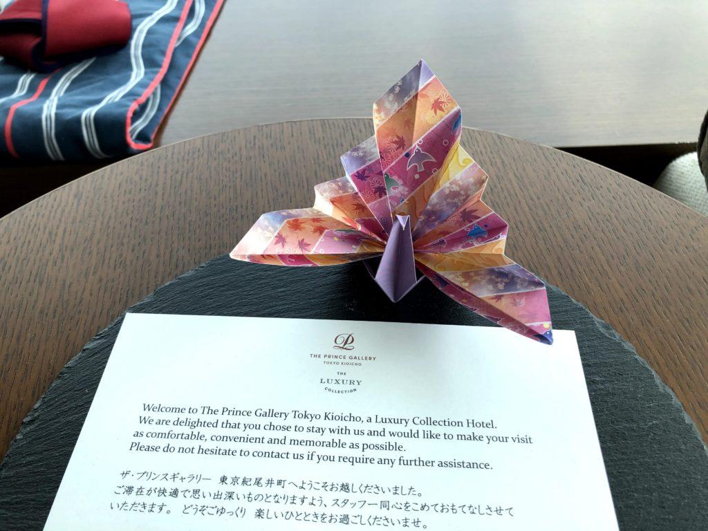 客室の折り鶴