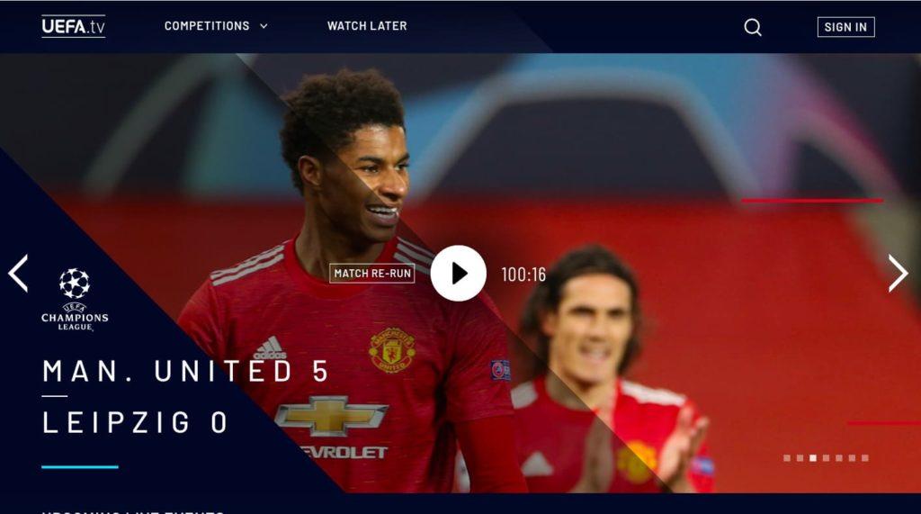 ① UEFA.tv公式サイトを開く(アプリをインストール)