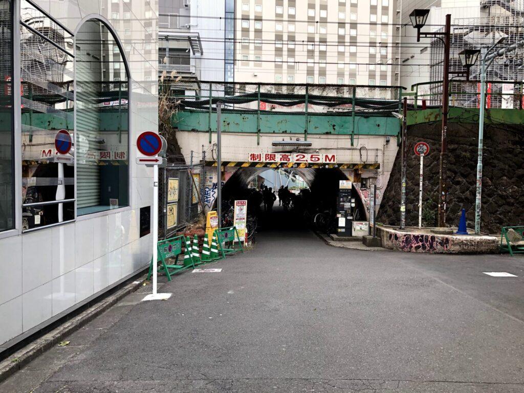 右に曲がって高架橋の下をくぐる